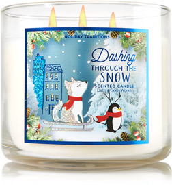 dashing through the snow candle