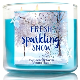 fresh sparkling snow candle