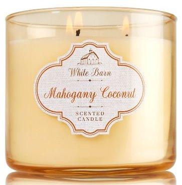 mahogany coconut white barn candle