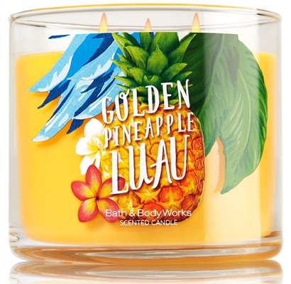 goden pineapple luau candle