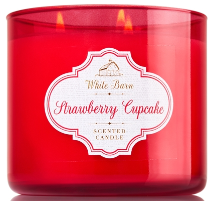 strawberry cupcake white barn candle