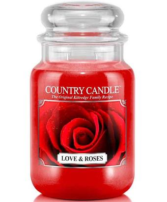 Love And Roses Kringle Candle Company red wax candle apothecary jar