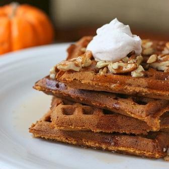 pumpkin praline waffles