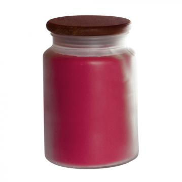 Strawberry Rhubarb Pure Integrity red wax candle frosted jar wooden lid