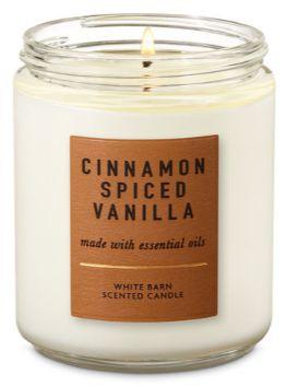 Cinnamon Spiced Vanilla Candle White Barn