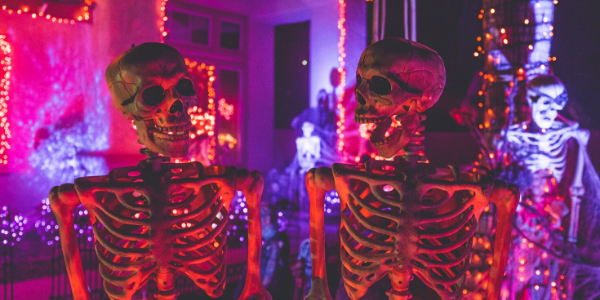 Skeletons at Halloween party