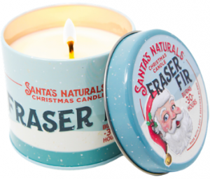 Christmas tree scented candle Fraser Fir Santa's Naturals
