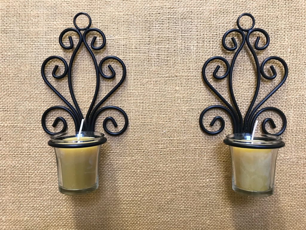 Pure Beeswax Votives and two black wall sconces