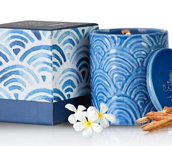 blue ceramic candle KIEKAN from Aubert & Amandine