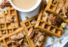 waffles and pecans on plate