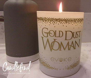 Hippie candle Gold Dust Woman Evoke Candle Company burning