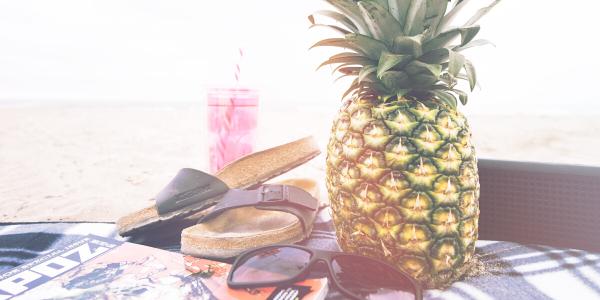 Tropical fruits on beach
