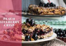 Peach Blueberry Crisp dessert plate fork