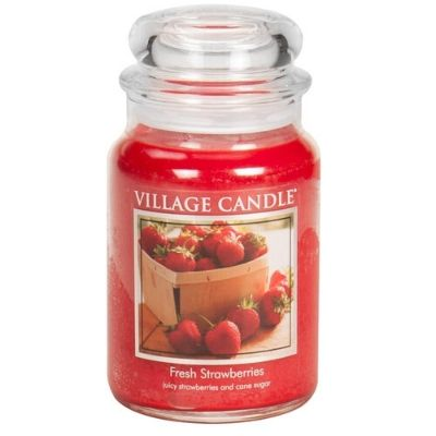 Fresh Strawberries Village Candle large apothecary jar red wax