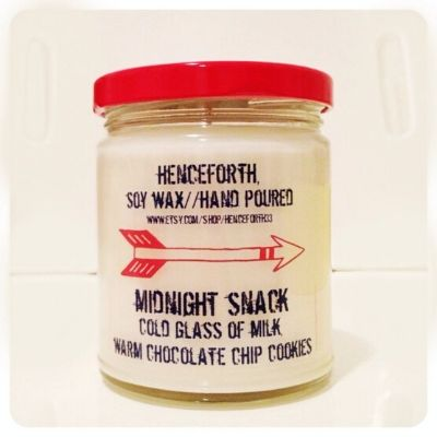 Henceforth soy candle midnight snack scented as warm chocolate chip cookies and milk
