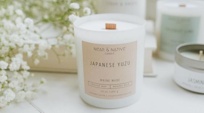 Near And Native wooden wick coconut wax candle white wax near baby's breath