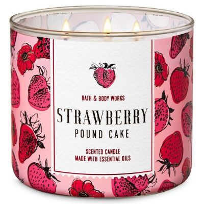 Strawberry Pound Cake three wick tumbler candle Bath And Body Works