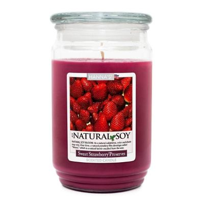 Sweet Strawberry Preserves Hanna's Candles red wax large jar candel