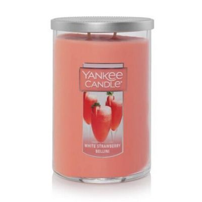 White Strawberry Bellini Yankee Candle two wick tumbler. Pink wax silver lid.