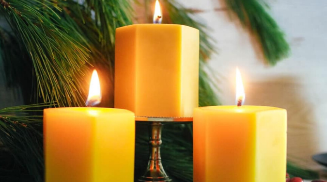 Worker B Set of 3 beeswax candles