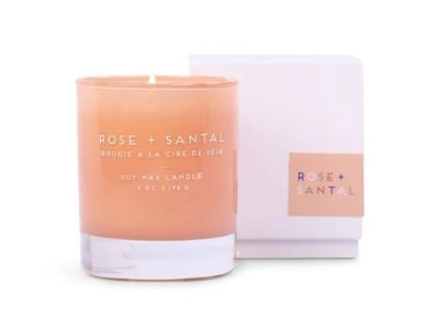 Paddywax Statement candle pink candle white box Rose + Santal fragrance