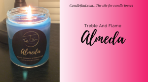 Almeda blue soy candle burning Treble And Flame Candle Review