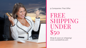 Free shipping on orders under $50 woman shopping at computer is happy