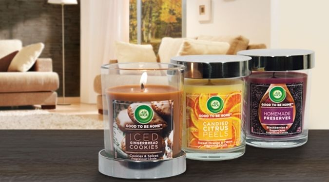 Air Wick candles set of three in living room