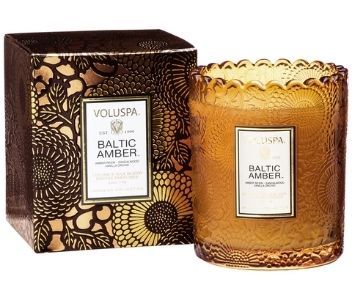 Baltic Amber embossed glass candle from Voluspa