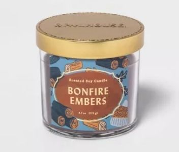 Bonfire Embers small candle with gold lid from Opalhouse Candles found at Target