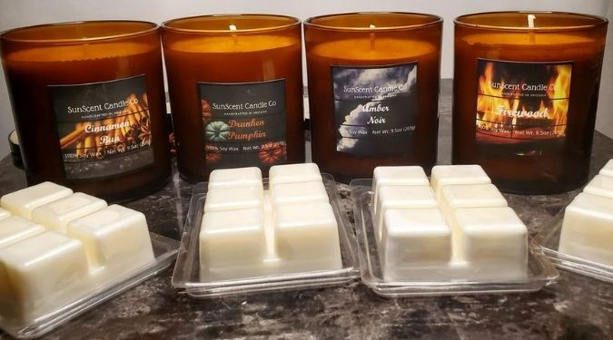 Sun Scent Candle Company wax melts and candles