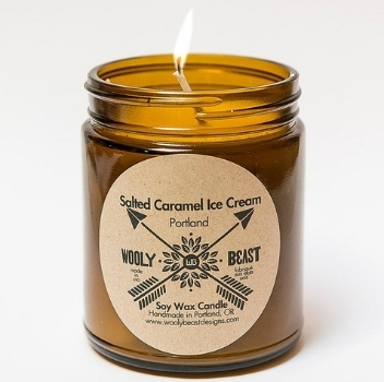 Wooly Beast Naturals, Salted Caramel Ice Cream Candle