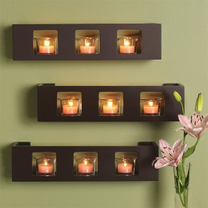 decorating with candles and shelves